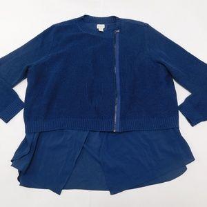 Chico's 3 Blue Full Zip Cardigan  Acrylic Blend
